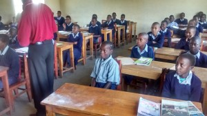 A classroom at Nuru School. Desks provided through Sheridan Noisy Offering. Photo by Patrick Barrett.