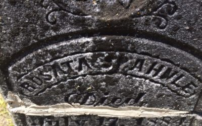 close up of grave stone from 1800's